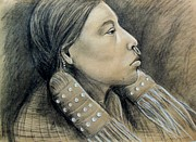Tribe Drawings Prints - Hesquiat Maiden Print by Linda Nielsen