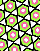 Motif Digital Art Prints - Hexagon Print by Louisa Knight
