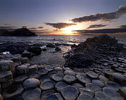 Causeway Coast Prints - Hexagonal Rock Formations At The Giants Print by Chris Hill