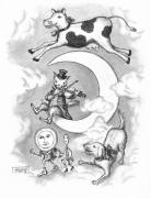 Pen And Ink Drawings Framed Prints - Hey Diddle Diddle Framed Print by Adam Zebediah Joseph