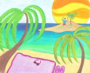 Beach Towel Drawings Prints - Hey I Am Over Here Print by Geree McDermott