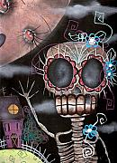 Skeleton Painting Prints - Hi  Print by  Abril Andrade Griffith