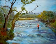 Hiawassee River Fly Fishing Print by Barbara Pirkle