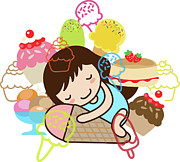 Ice Cream Illustration Posters - Hibernate Poster by Littlebirth