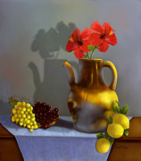Pottery Pitcher Digital Art Prints - Hibiscus and Friends Print by Sena Wilson