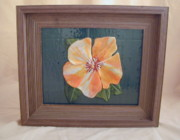 Picture Glass Art Originals - Hibiscus by Carol Korfin