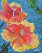 John Keaton Paintings - Hibiscus Flowers by John Keaton