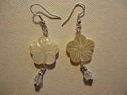 Silver Earrings Jewelry Metal Prints - Hibiscus Hawaii Flower Earrings Metal Print by Jenna Green