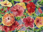 Mix Media Mixed Media Prints - Hibiscus Impressions Print by Patti Bruce - Printscapes