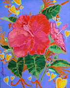 Bright Colors Prints - Hibiscus Motif Print by Adele Bower