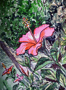 Sketchbook Painting Prints - Hibiscus Sketchbook Project Down My Street  Print by Irina Sztukowski