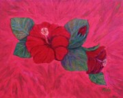 Anke Wheeler Paintings - Hibiscus Tapestry by Anke Wheeler