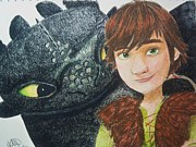 Toothless Prints - Hiccup and Toothless Print by Madelyn Mershon