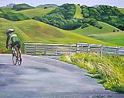 Marin County Posters - Hicks Valley Bike Ride Poster by Colleen Proppe
