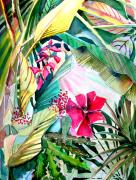 Tropical Drawings Posters - Hidden Beauty Poster by Mindy Newman