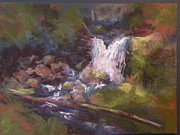 Waterfall Pastels Originals - Hidden Falls by Jo Ann Sullivan