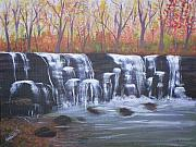 Waterfalls Paintings - Hidden Falls by Wendy Smith