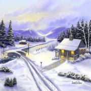 Snow Scenes Digital Art Prints - Hidden Mountain Valley Print by Sena Wilson
