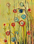 Blue Painting Originals - Hidden Poppies by Jennifer Lommers