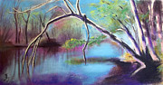 Tree Print Pastels Framed Prints - Hidden River At Sharon Mills Framed Print by Yoshiko Mishina