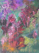 Reds Pastels Prints - Hidden Waterfall Print by Julie Ann Roberts
