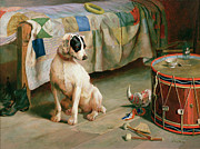 Dog Sitting Prints - Hide and Seek Print by Arthur Charles Dodd