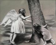 Sisters Drawings - Hide and Seek by Calvin Carter