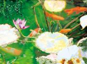 Koi In Water Prints - Hide And Seek Kio In The Green Pond Print by Judy Loper