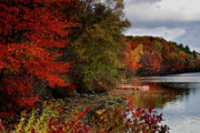 New Hampshire Fall Foliage Prints - Hideaway - New England Fall Landscape boat lake Print by Jon Holiday