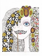 Abstract Fashion Art Drawings - Hiding Behind the Mustache by Paula Dickerhoff