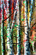 Autumn Landscape Mixed Media - Hiding in the Forest by Mindy Newman