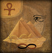 Horus Painting Metal Prints - Hieroglyphic Homage to Horus Metal Print by Kim Doran