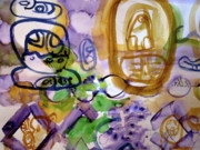 Mayan Paintings - Hieroglyphics in Purple by Joan Norris