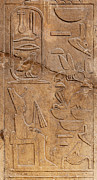 Wall Sculpture Posters - Hieroglyphs on ancient carving Poster by Jane Rix