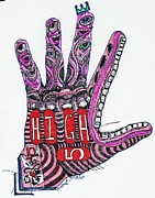 Folk  Drawings - High 5 Yell by Robert Wolverton Jr
