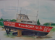 Docked Boat Painting Prints - High and Dry Print by Bart Dunlap