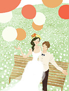 Bridegroom Posters - High Angle View Of Newlywed Couple Sitting On Garden Bench Poster by Eastnine Inc.