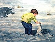 Child Paintings - High Country Snow Girl by Sam Sidders