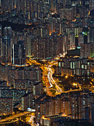 Residential District Framed Prints - High Density Of Residential In Hongkong Framed Print by Coolbiere Photograph