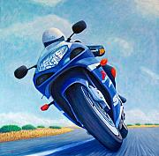 Motorcycle Posters - High Desert Pass - Suzuki GSXR1000 Poster by Brian  Commerford