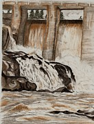 Falls Drawings - High Falls on the Frederickhouse by Joan Pye