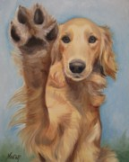 Golden Retriever Puppy Framed Prints - High Five Framed Print by Jindra Noewi