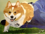 Corgi Posters - High Five Teddy Poster by Debbie LaFrance