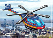 Helicopters Paintings - High Flying Helicopter Over Highways  by Elaine Plesser