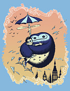Illustration Prints - High Flying Hugs Print by Christopher Ables