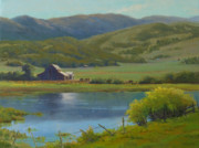 Teton Paintings - High Noon Ranch by Marianne  Kuhn