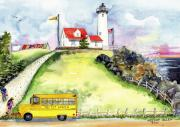 Red School House Paintings - High Point Light by Melody Allen