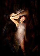 Nudes Tapestries - Textiles Metal Prints - High Priest and her Snake Metal Print by Sandy Viktor Nys