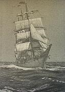 Tall Ship Drawings Prints - High Seas Print by Dan Hausel