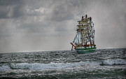 Wooden Ship Digital Art Posters - High Seas Sailing Ship Poster by Randy Steele